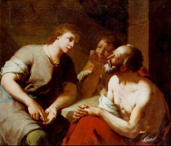 Йосеф толкует сны пекаря и виночерпия. Доменико Маджотто, XVIII в.