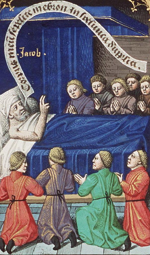 Йааков благословляет своих сыновей. Миниатюра Франсуа Мэтра, 1475-1480