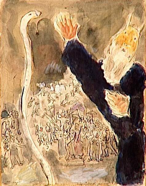 Моше кидает посох, и тот по божьему повелению превращается в змею. Марк Шагал, 1931