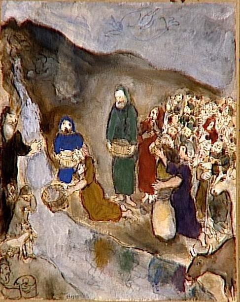 Моше высекает источник в скале в Хореве. Марк Шагал, 1934