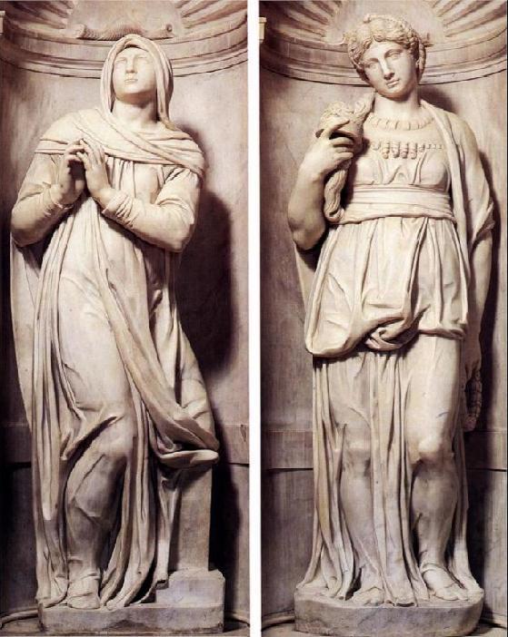 Рахель и Леа. Микеланджело, 1545