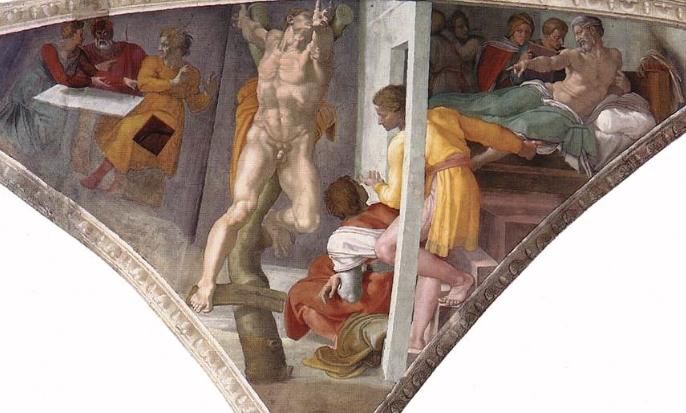 Наказание Амана. Фрагмент росписи потолка Сикстинской капеллы. Микеланджело, 1512