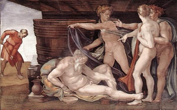 Опьянение Ноаха. Фреска Микеланджело, 1508-1512