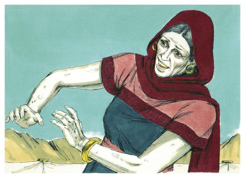 «И вот Мирьям покрыта чешуйками, как снегом». Иллюстрация к изданию Библии, 1984