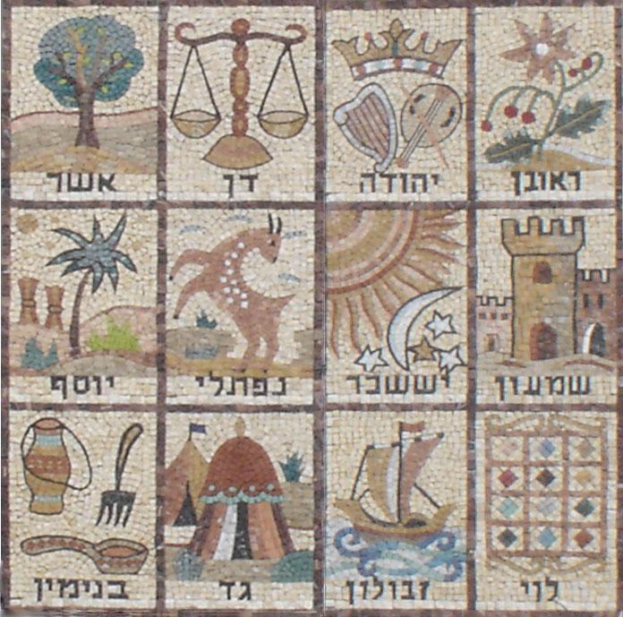 12 колен Израилевых. Мозаика в синагоге Иерусалима, XII в.
