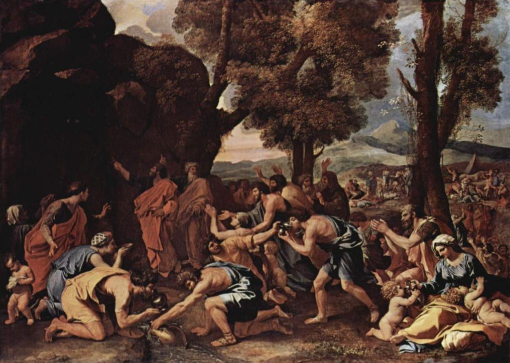 Моше высекает воду из камня. Николя Пуссен, 1633-35