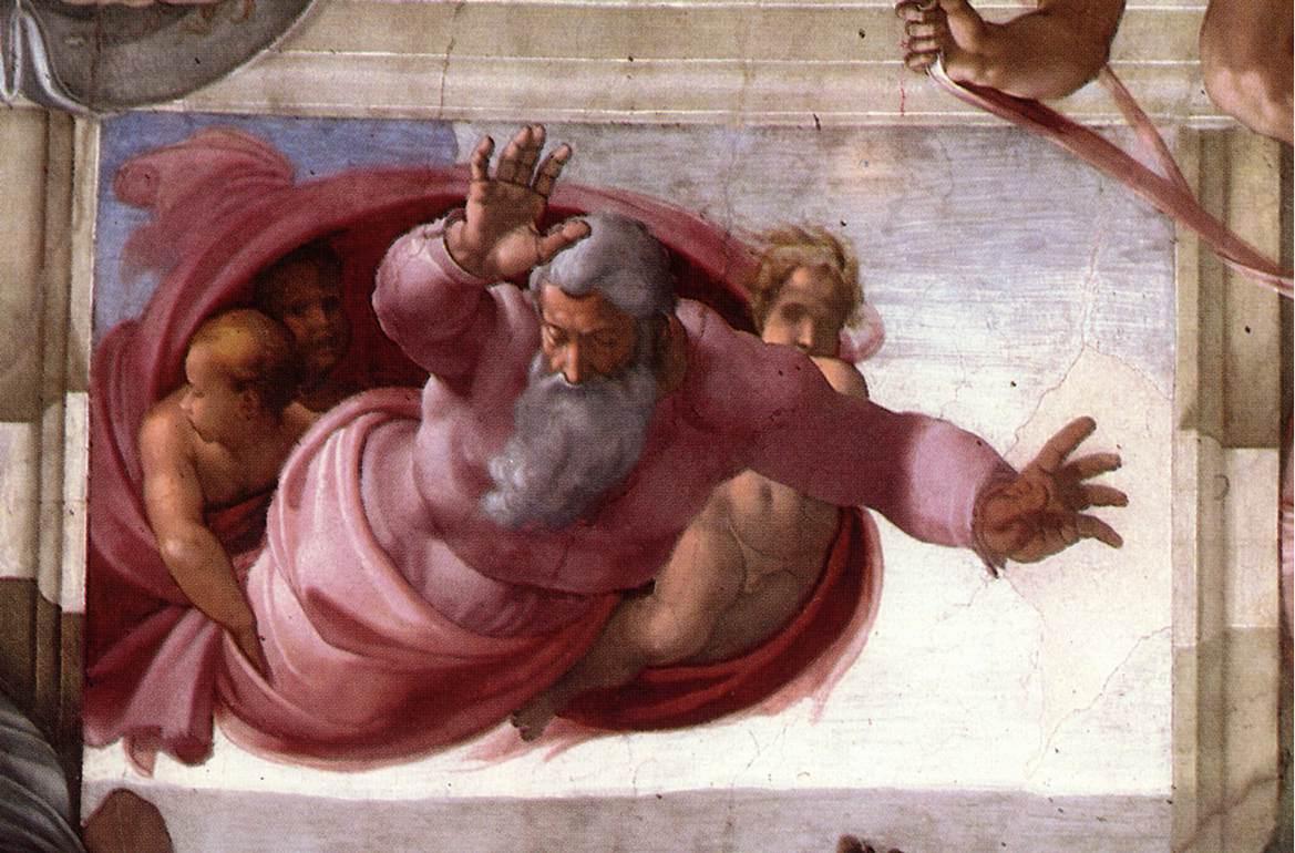Сотворение солнца, луны и планет. Фреска Микеланджело, 1511