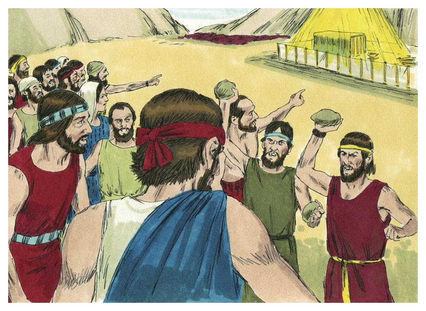 Община собирается побить камнями Йеошуа и Калева. Иллюстрация Джима Праджетта, 1984