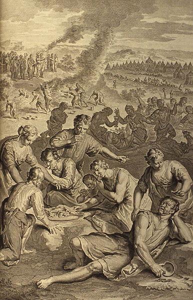 Израильтяне поедают перепелов. Герард Хоет, 1728