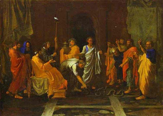 Моше превращает посох Аарона в змея. Николя Пуссен, 1647