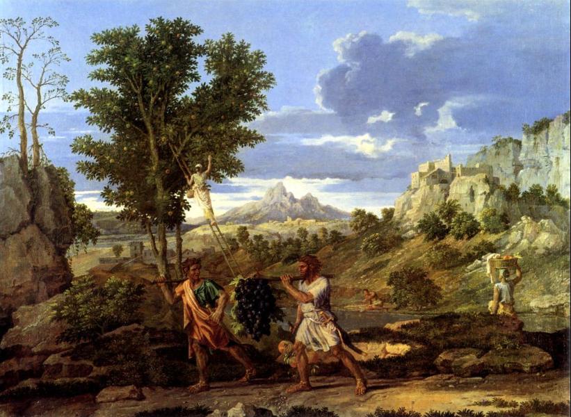 Разведчики возвращаются из Земли обетованной с виноградной ветвью. Николя Пуссен, 1660-1664