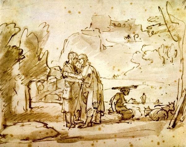 Лаван приветствует Йаакова. Рембрандт, 1655