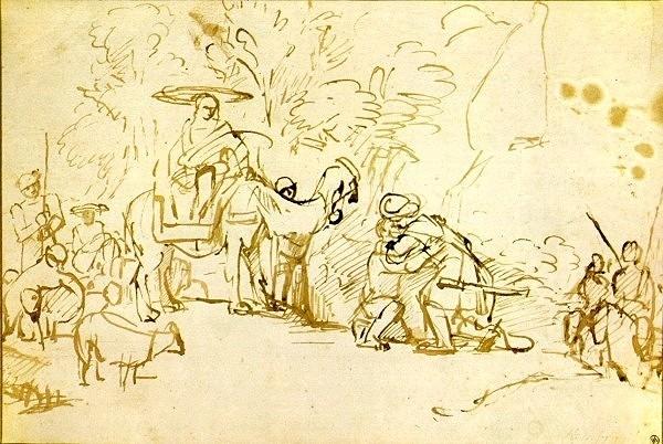 Примирение Йаакова и Эсава. Рембрандт, 1655