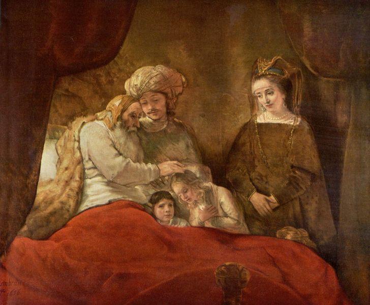 Йааков благословляет сыновей Йосефа. Рембрандт, 1656