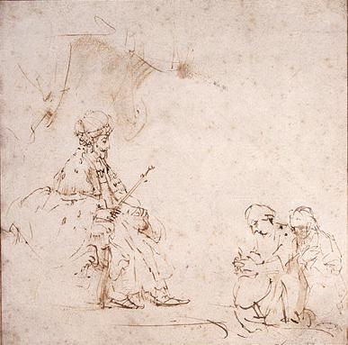 Эстер перед Ахашверошем. Рембрандт, 1655-60