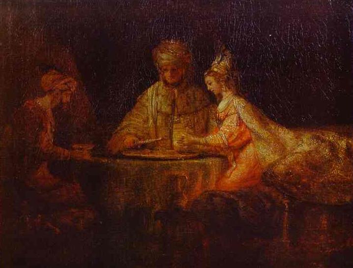 Аман и Ахашверош в гостях у Эстер. Рембрандт, 1660