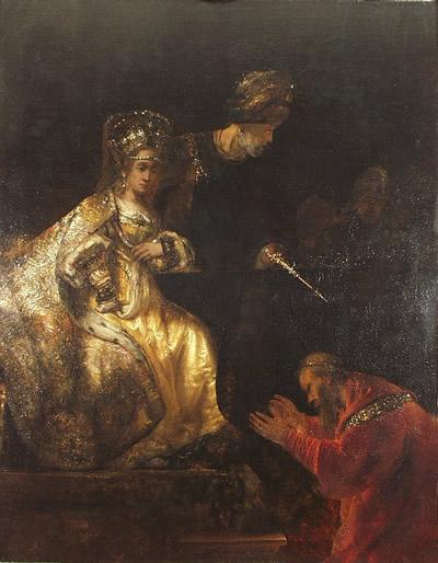 Аман молит Эстер о пощаде. Рембрандт, 1660