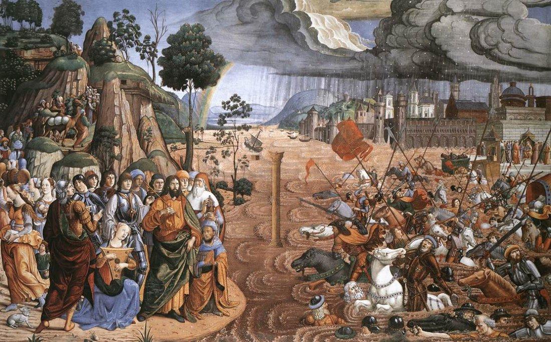 Переход через Тростниковое море. Козимо Росселли, 1482