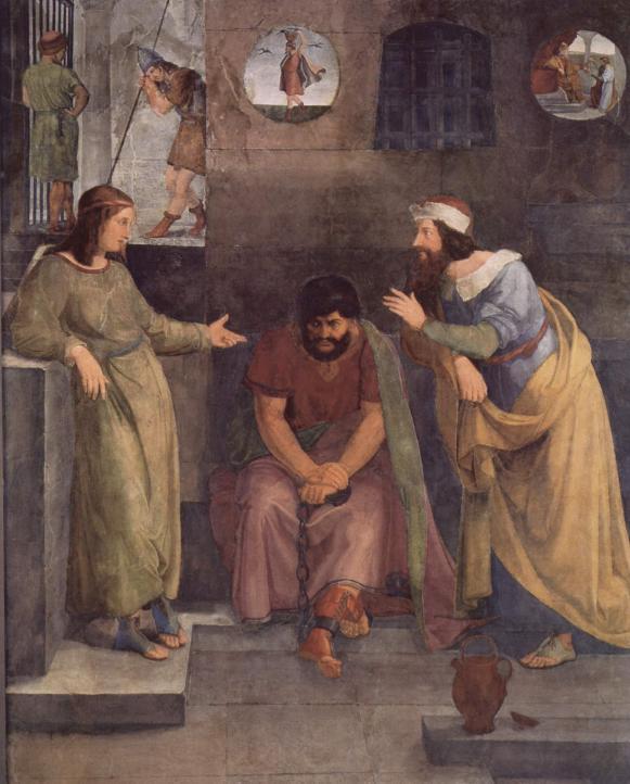 Йосеф в тюрьме толкует сновидения. Фридрих Вильгельм фон Шадов, 1817