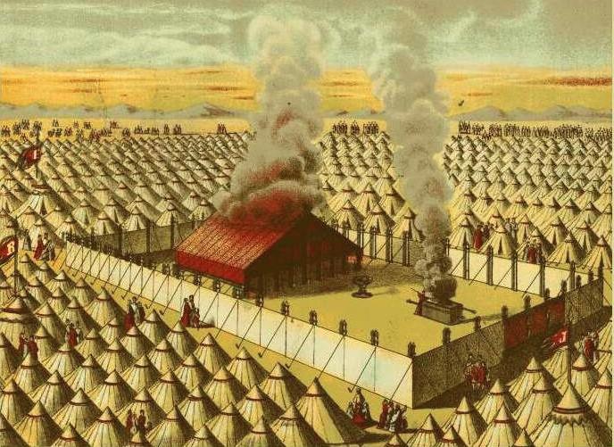 Скиния Завета посреди стана израильтян. Иллюстрация к изданию Библии, 1872