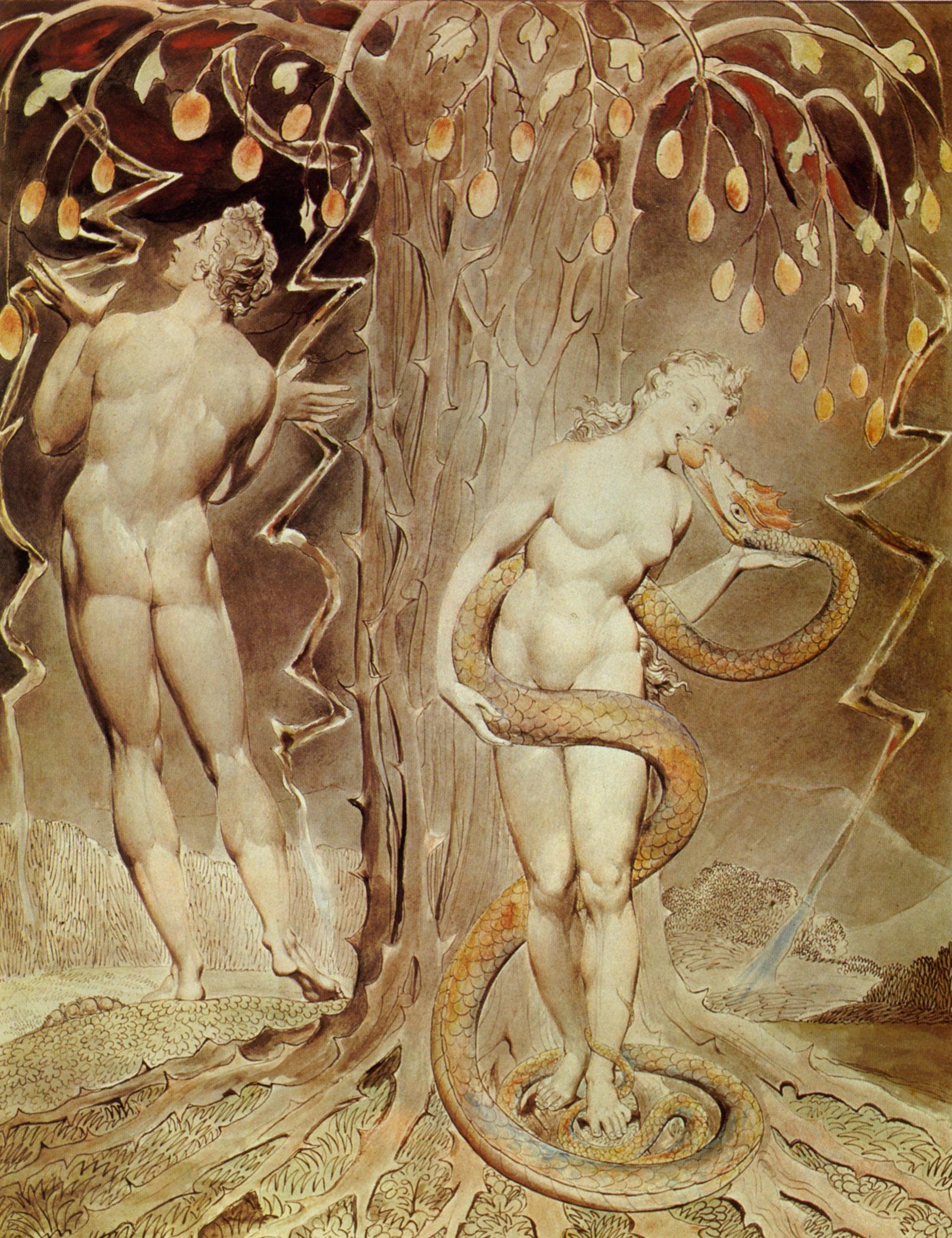Искушение и грехопадение. Уильям Блейк, 1808