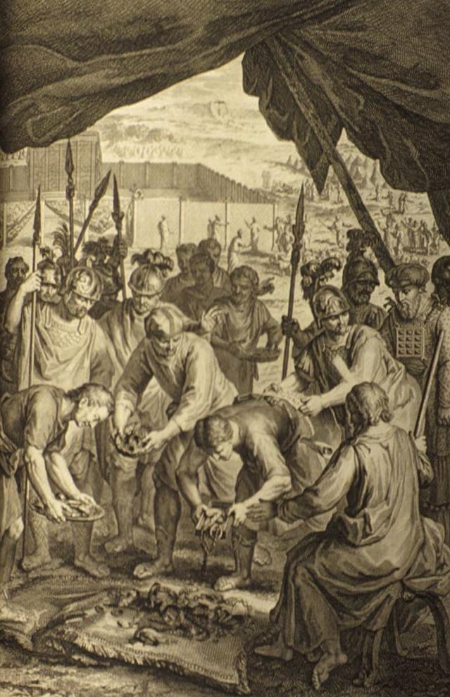 Израильтяне очищают захваченную добычу. Герард Хоет, 1728