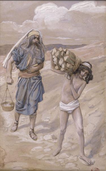 Йицхак несет дрова для своего жертвенника. Джеймс Тиссо, 1896-1902