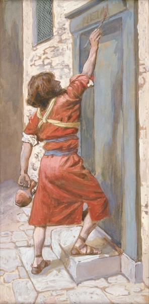 Израильтяне помечают дверные косяки кровью ягненка. Джеймс Тиссо, 1896-1902