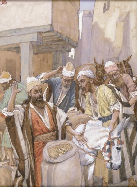 Братья обнаруживают серебряную чашу в мешке Биньямина. Джеймс Тиссо, 1896-1902