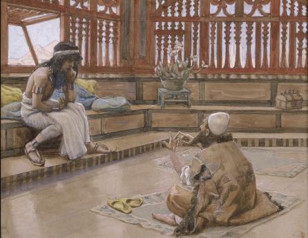 Йосеф беседует со своим братом Йеудой. Джеймс Тиссо, 1902