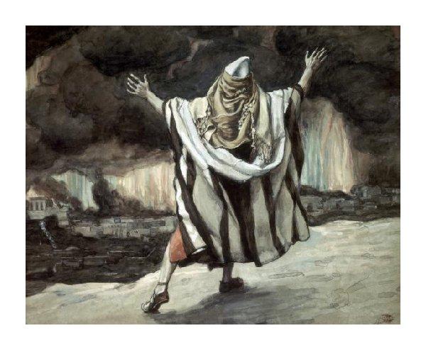 Авраам смотрит на охваченный пламенем Содом. Джеймс Тиссо, 1896-1902