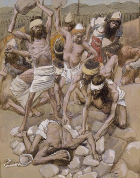 Община забивает камнями нарушителя заповеди о субботе. Джеймс Тиссо, 1896-1902