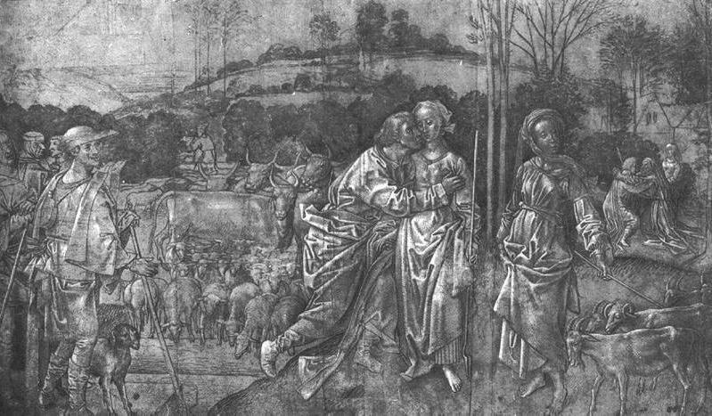 Йааков и Рахель. Хьюго ван дер Гус, 1475