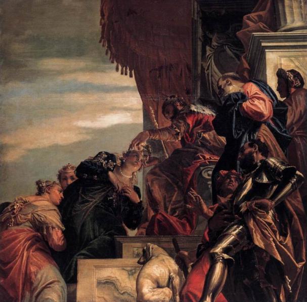 Ахашверош возлагает на голову Эстер царский венец. Паоло Веронезе, 1556