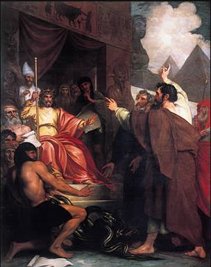 Моше и Аарон перед фараоном. Бенджамин Уэст, XVIII-XIX вв.