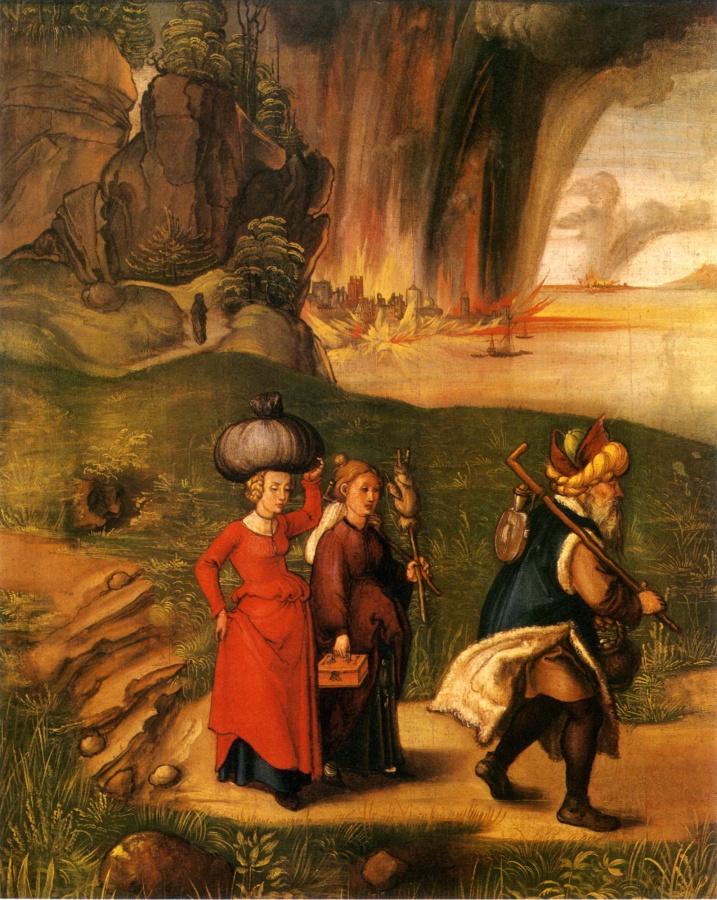 Лот с семьей убегает из Седома. Альбрехт Дюрер, 1496