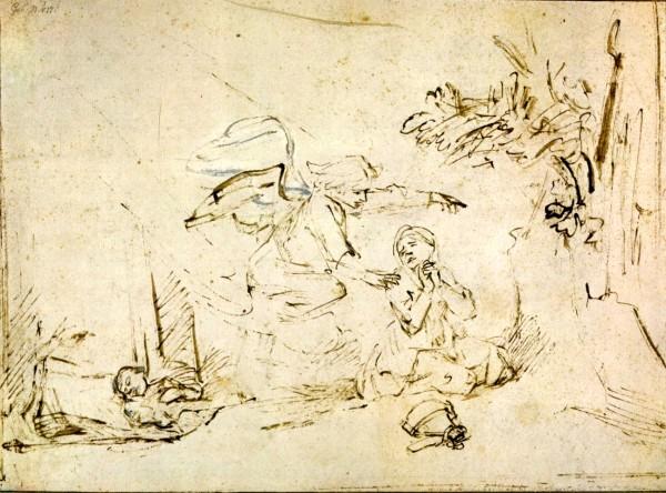 Ангел является Агар. Рембрандт, 1655