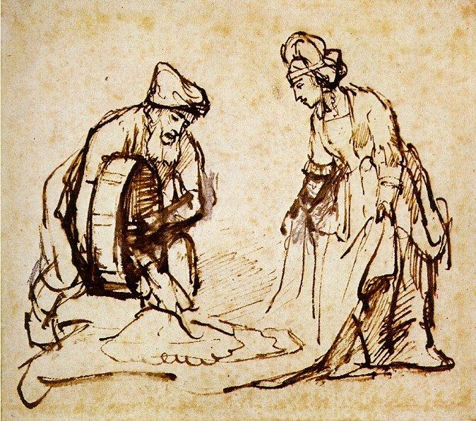 Боаз отмеряет Рут шесть мер ячменя. Рембрандт, 1650