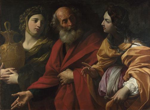 Лот с дочерьми покидает Седом. Гвидо Рени, 1615-16
