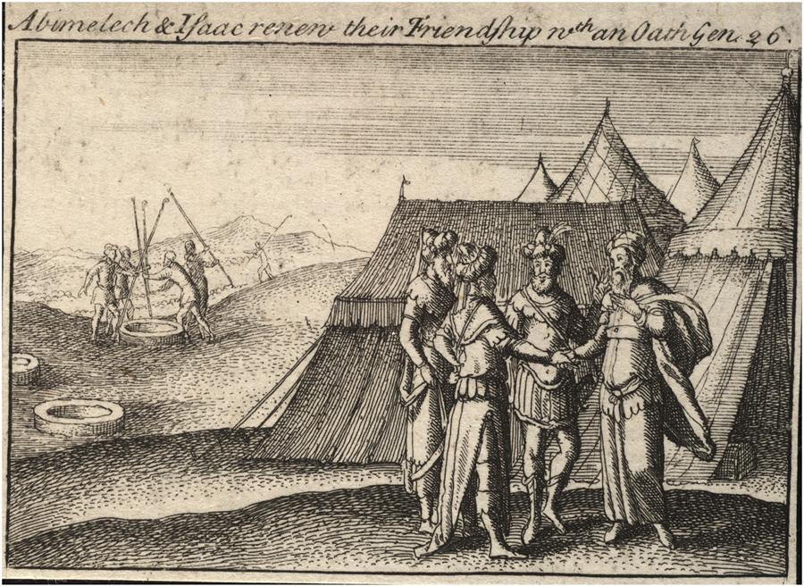 Авимелех и Йицхак заключают союз. Офорт Вацлава Холлара, XVII в.