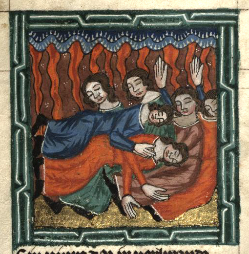 Огонь Господень поражает недовольных (Числа, гл. 11). Миниатюра 14 в., Прага