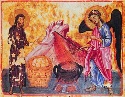 Призвание Гедеона. Миниатюра из Октатевха. XIII в.