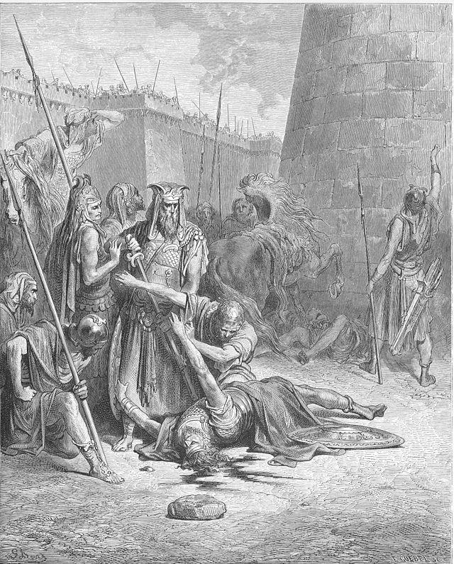 Смерть Авимелеха (гравюра на дереве).  Поль Гюстав Доре, 1866 г.