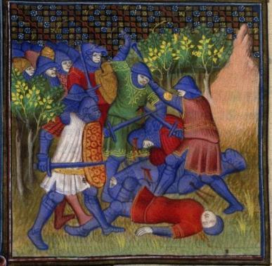 Битва между евреями и мадианитянами, французский средневековый манускрипт