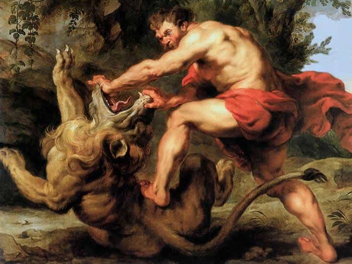 Самсон, разрывающий пасть льва. Питер Пауль Рубенс, 1615-16 гг.