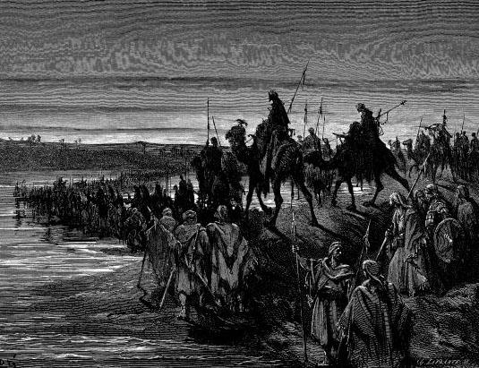 Йеошуа и израильтяне переправляются через Иордан. Гюстав Доре, 1883