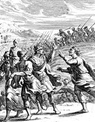 Миха догоняет сынов Дана. Гравюра Иоаганна Кристофа Вайгля, 1695 г.