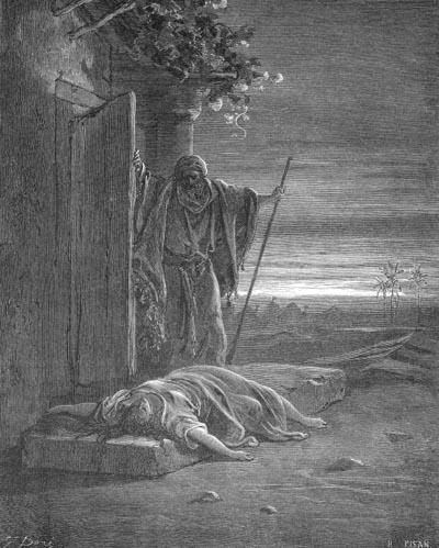 Левит находит наложницу. Гравюра, Гюстав Доре (1832-1883),