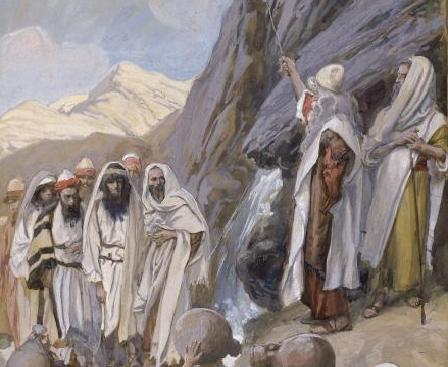 Моше высекает воду в скале (фрагмент). Джеймс Тиссо, 1896-1902