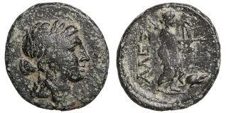 Греческая монета с изображением Аполлона и мыши (атрибут Бога, насылающего болезни)